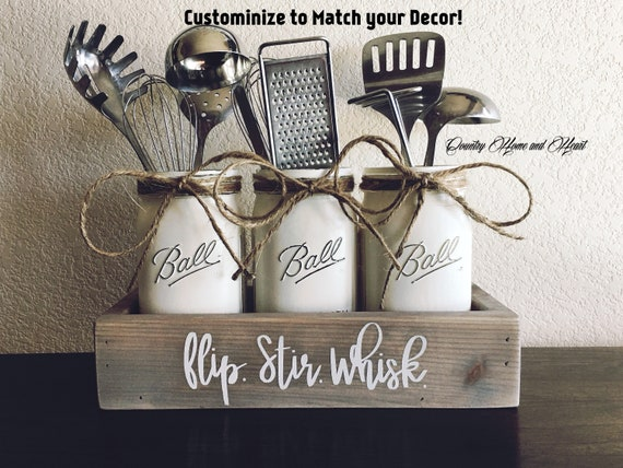 Flip Stir Whisk Kitchen Decor Utensils Holder Mason Jar Etsy