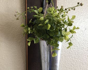Galvanized Metal Hanging Planter with Greenery or Flowers, Rustic Wall Decor, Sconce with Flowers,Country Wall Decor, Farmhouse Wall Hanging