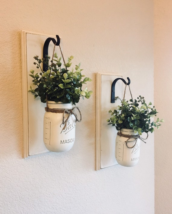 2 Set w// Flowers Hand Made Rustic Wall Sconces With Mason Jars Fancy Edges