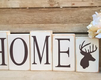 Rustic Decor,Deer,HOME Wood Blocks,CabinDecor,Deer Home Decor,Home Blocks,HOME letter blocks,Deer Decor, Lodge Decor,Country Home Decor,Gift