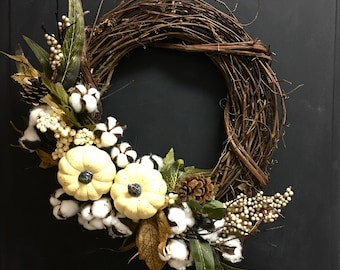 Fall White Pumpkin Wreath, Front Door Fall Wreaths, Neutral Fall Decor, Fall Pumpkin Wreath, Fall Decor, Fall Mantle Decor, Fall Porch Decor