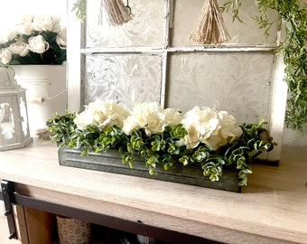 Farmhouse Floral Arrangement, Galvanized Planter Tray with Flowers and Greenery, Living Room Decor, TV console Centerpiece, Entryway Decor