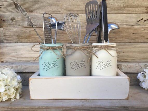 Mason Jar Utensils Holder, Mason Jar Kitchen Decor, Kitchen Utensils  Holder, Painted Mason Jar Kitchen Set, Rusitc Farmhouse Kitchen Decor