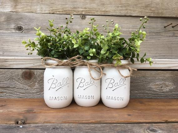 Jars With Greeney Mason Jars With Greenery Home Decor Etsy