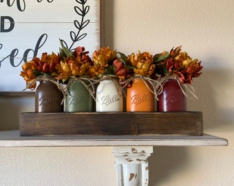 Rustic Fall Dining Room Table Centerpieces, Fall Kitchen Decor, Thanksgiving Centerpiece, Fall Mason Jar Centerpiece, Fall Table Decorations