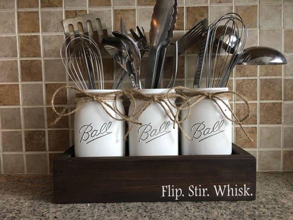 Flip Stir Whisk Kitchen Decor Utensils Holder Mason Jar Etsy