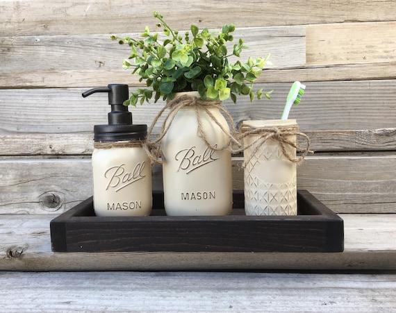 Rustic Bathroom Decor Mason Jar Bathroom Set Bronzebathroom Etsy