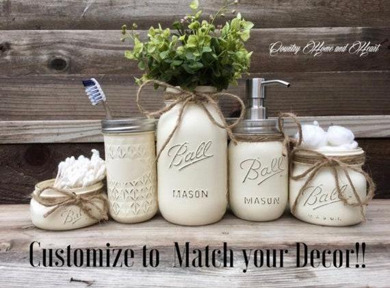 Rustic Bathroom Decor Makeup Organizer Gifts Gifts For Her Mason Jar Bathroom Organization Soap Dispensor Farmhouse Bathroom Decor
