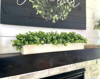 Farmhouse Planter Box Centerpiece with Greenery, Rustic Table Centerpiece, Floral Arrangements with Greenery, Mantle Decor