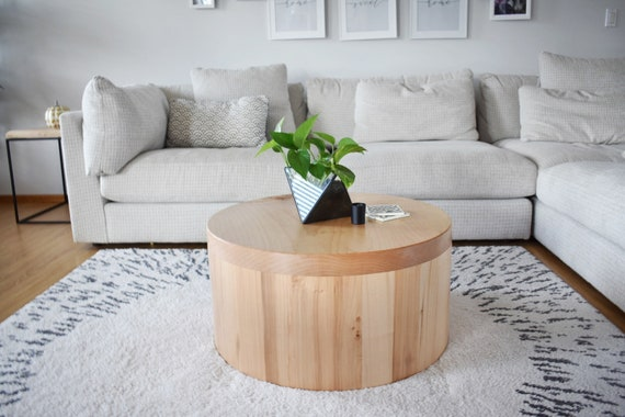 Maple Wood Modern Round Coffee Table Handcrafted Reclaimed Etsy