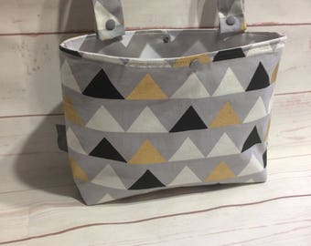 Medium sized Pram or stroller caddy bag / organiser for trolley, cot / crib caddy in gold, grey triangles