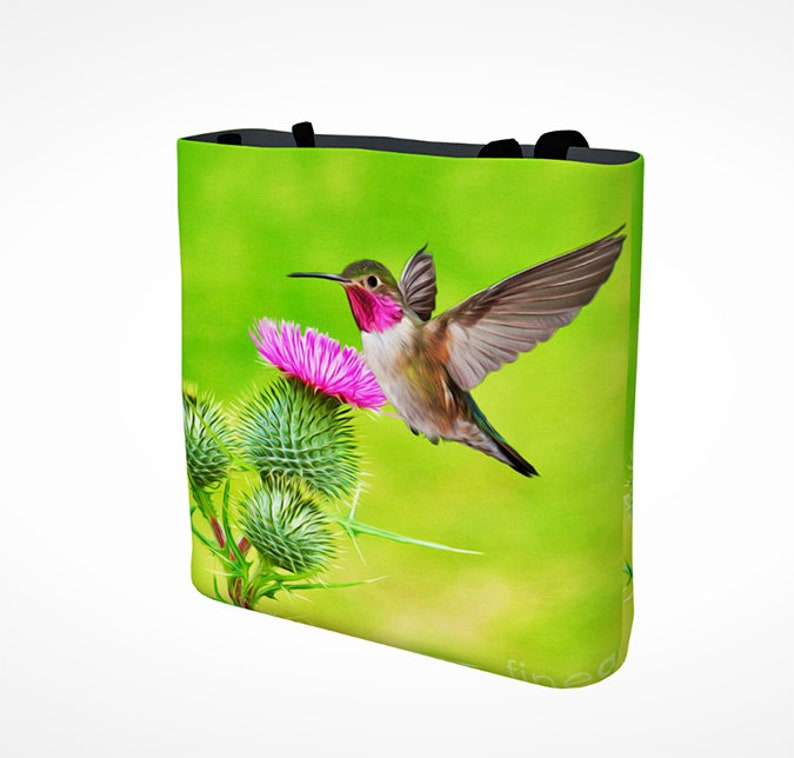 Fine Art on Canvas Tote Bag Book Bag Gift for Her Ruby Throated Hummingbird Friend Gift Giving Hummingbird Tote Bag Canvas Handbag