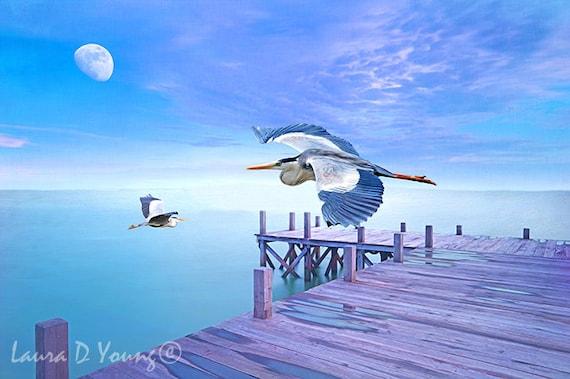 Grey Herons Flying Ocean Birds Vacation Tote Bag Friend Gift Giving Book Bag Fine Art on Canvas Tote Bag Canvas Handbag Gift Ideas
