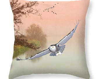 Nature Throw Pillow, Snowy Owl Flying, Accent Pillow, Owl Pillow, Pillow Cushion, Cabin Decor, Home Accent Couch Pillow, Wildlife Decor