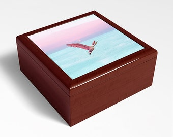 Roseate Spoonbill Wood Box, Keepsake Box, Bird Lovers, Gift Ideas, Original Artwork, Trinket Storage, Bird Jewelry Box, Wooden Memory Box