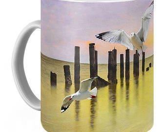 Seagulls Flying, Golden Sunset on Ocean, Photo Coffee Mug, Beverage Mug, Fine Art Ceramic Mug, OOAK Coffee Cup, Gift for Him, Gift for Her