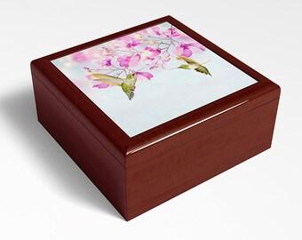 Hummingbird Keepsake Box, Wooden Memory Box, Bird Lover, Gift Idea, Bird Photography, Original Art, Trinket Storage, Jewelry Box,Storage Box