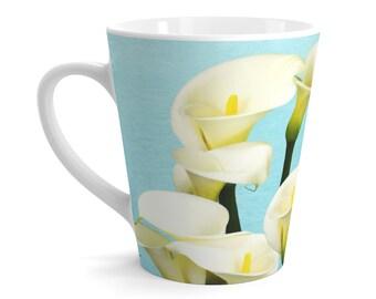 Calla Lily Flowers, Floral Mug Design, Gift Ideas, Flower Coffee Mug, Latte Mug, Original Artwork, Beverage Mugs, Ceramic Mugs, Coffee Cups
