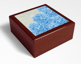 Blue Hydrangea Flowers, Keepsake Box, Wooden Memory Box, Flower Photography, Original Artwork, Trinket Storage, Jewelry Box, Storage Box