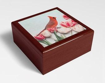 Northern Cardinal Bird Keepsake Box, Wooden Memory Box, Bird Lovers, Gift Ideas, Original Artwork, Trinket Storage, Jewelry Box, Storage Box