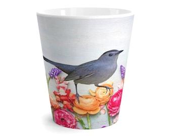 Gray Catbird Mug, Garden Flowers, Coffee Mug, Latte Mug, Bird Lovers, Original Artwork, Gift Ideas, Beverage Mugs, Ceramic Mugs, Coffee Cups