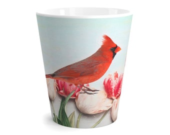 Northern Cardinal Bird Mug, Red Bird Coffee Mug, Latte Mug, Original Artwork, Bird Lover, Beverage Mug, Ceramic Mug, Coffee Cups, Gift Ideas