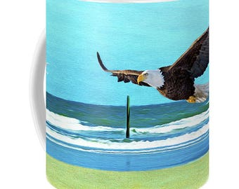 Bald Eagle Flying, Ocean and Beach, Photo Coffee Mug, Eagle Beverage Mug, Fine Art Ceramic Mug, Coffee Cup, Gift for Him, Gift for Her