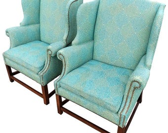 SOLD-Pair of Henredon Wing Back Chairs  sc 1 st  Etsy & Henredon chairs | Etsy