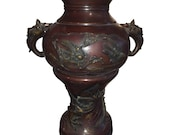 Large Meiji Period Bronze Twin Handled Urn with Decoration