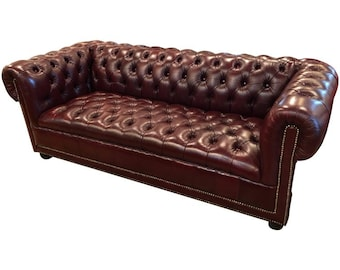 SOLD Burgundy Chesterfield Sofa