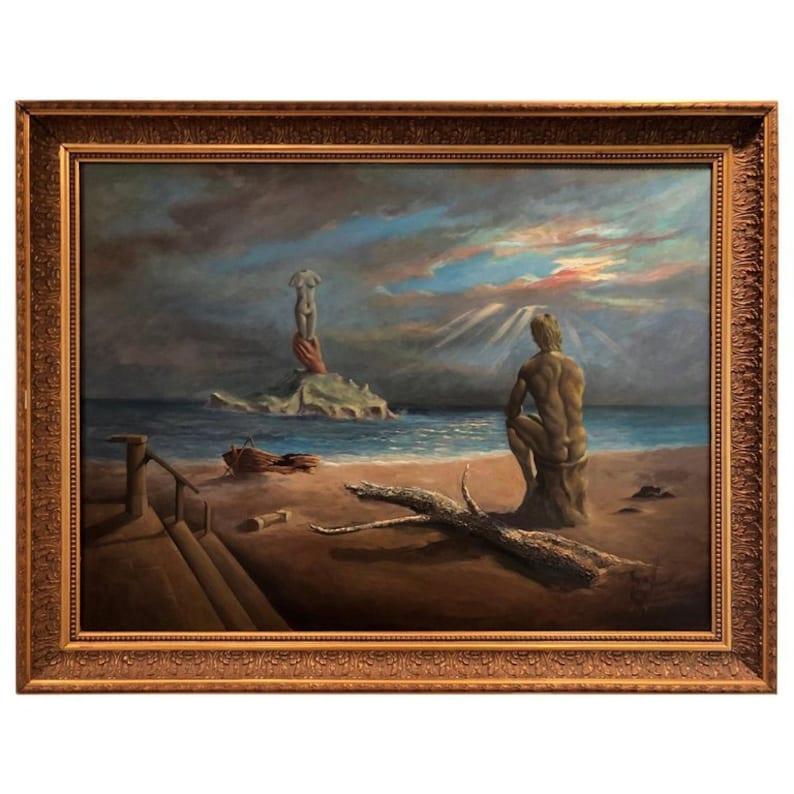 SOLD,Surrealist Salvador Dali style Oil on Canvas Signed Hernandez