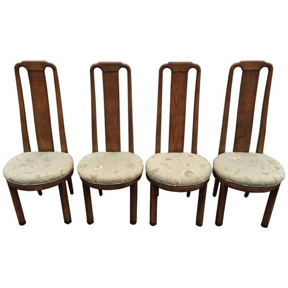 SOLD Set Of Four High Back Henredon Dining Chairs