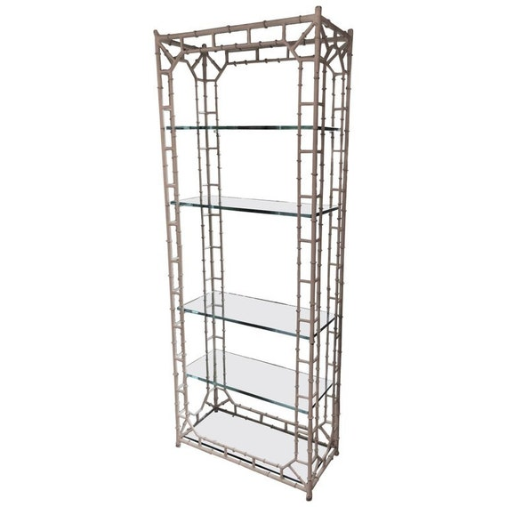 Peachy White Faux Bamboo Etagere With Glass Shelves Home Interior And Landscaping Ferensignezvosmurscom
