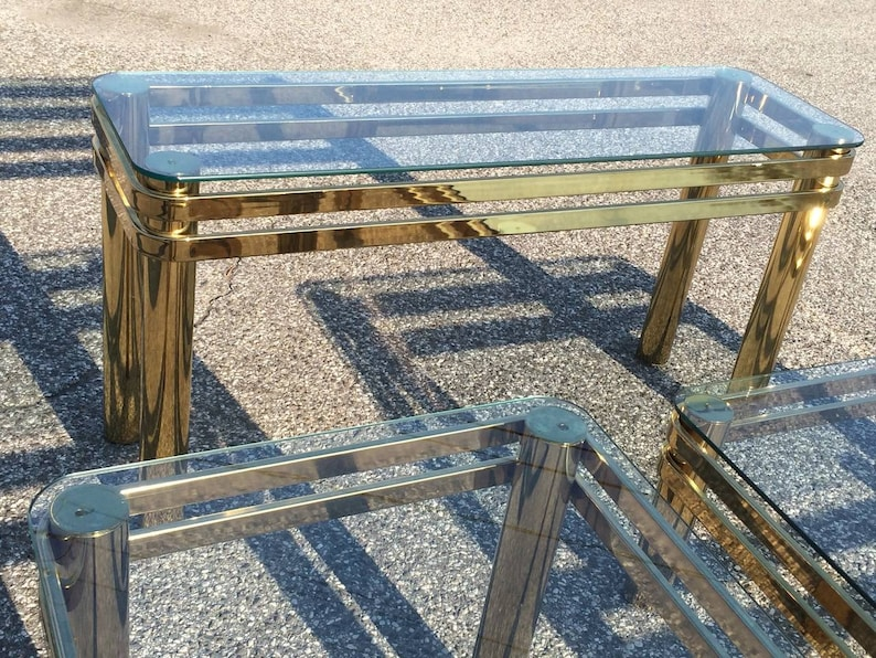 SOLD-Hollywood Regency Brass Console or Sofa Table by Pace