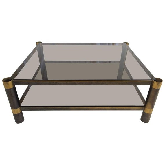 Sensational Signed Karl Springer Two Tiered Smoked Glass Coffee Table Ocoug Best Dining Table And Chair Ideas Images Ocougorg