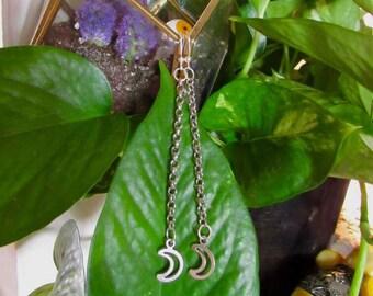 Moon Dangling Chain Earrings
