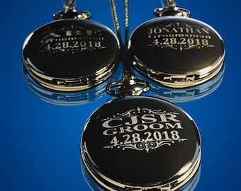 Personalized Groomsman gift, Black engraved pocket watch in gift box, Best Man Usher gift, Unique Wedding gift, Mens gift, Party favors