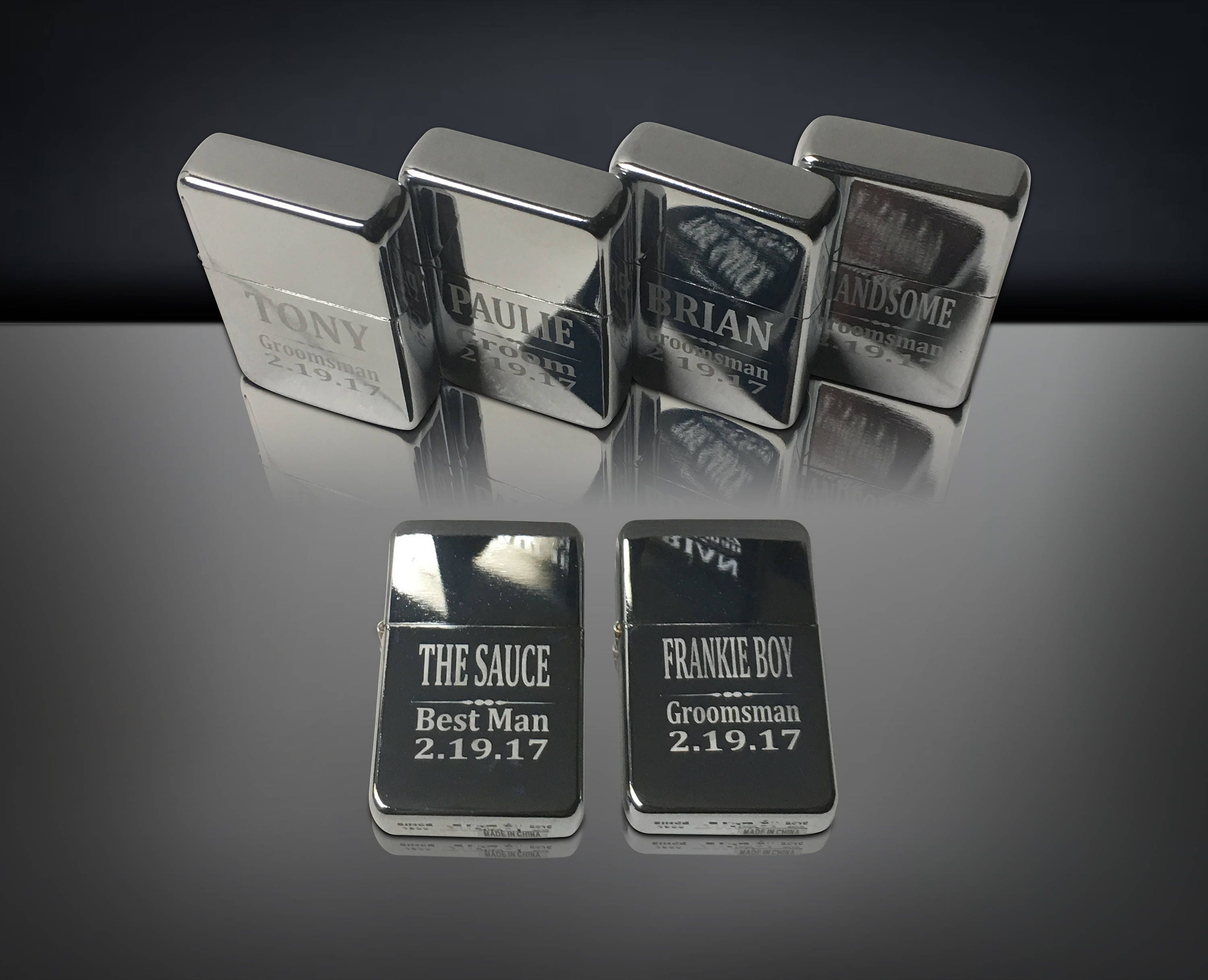 4 Personalized Engraved Lighters 4 Groomsmen Bridesmaid Wedding
