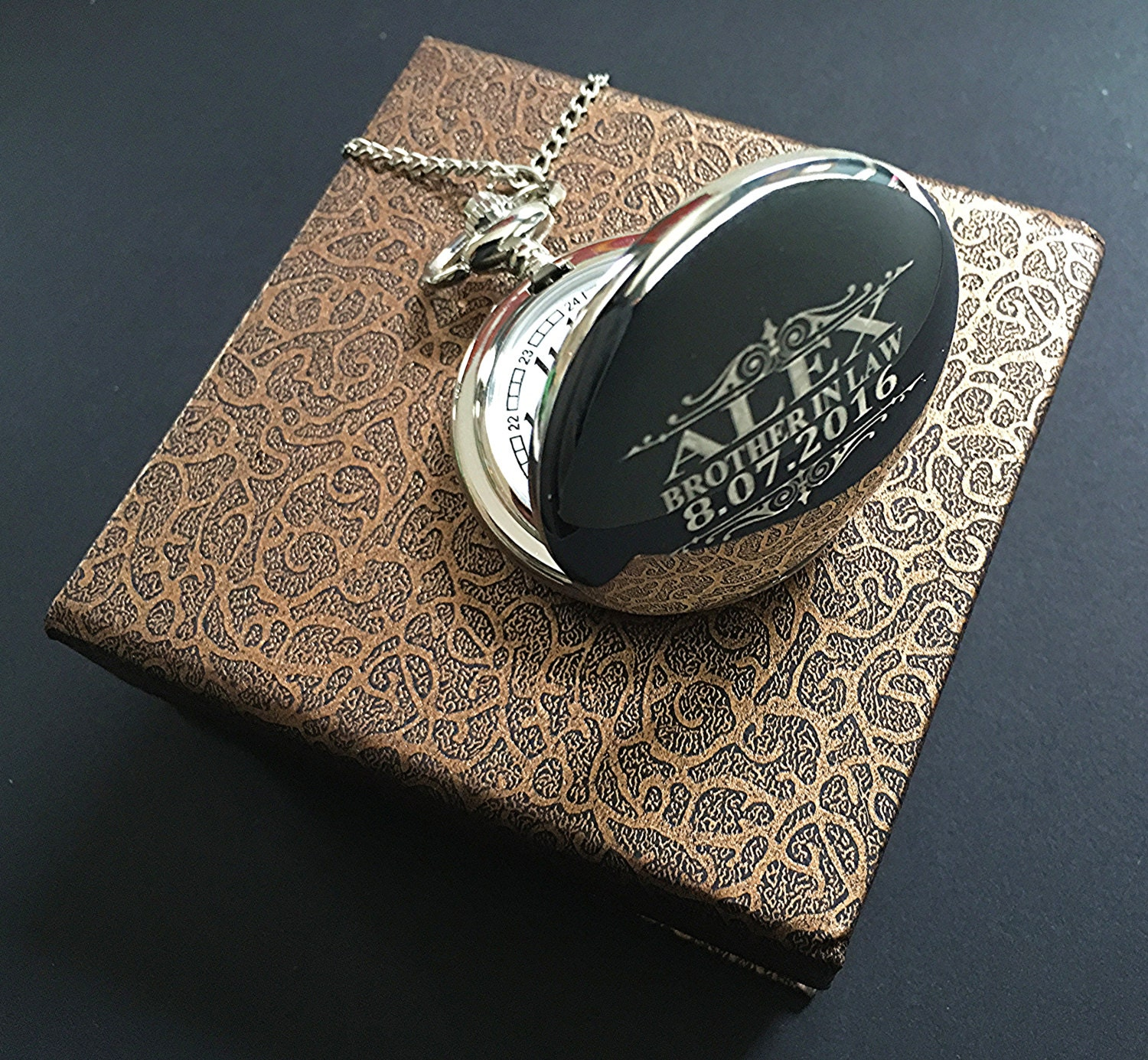 Brother In Law Gift Silver Engraved Pocket Watch Groomsman Gift Best