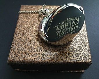 Personalized Groomsman gift-Siver engraved pocket watch in gift box-Best Man gift-Usher gift-Officiant gift-Wedding gift-Brother in law gift