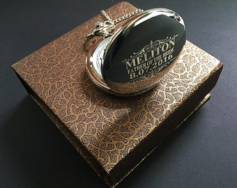 Father in Law gift-Silver engraved pocket watch-Groomsman gift-Best Man gift-Usher gift-Officiant gift-Wedding gift-Brother in law gift