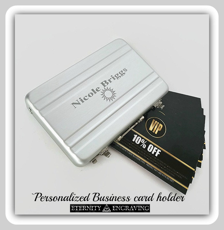 personalized business card holder mini briefcase engraved business card case personalized gift for him aluminum custom engraved case - Personalized Business Card Case