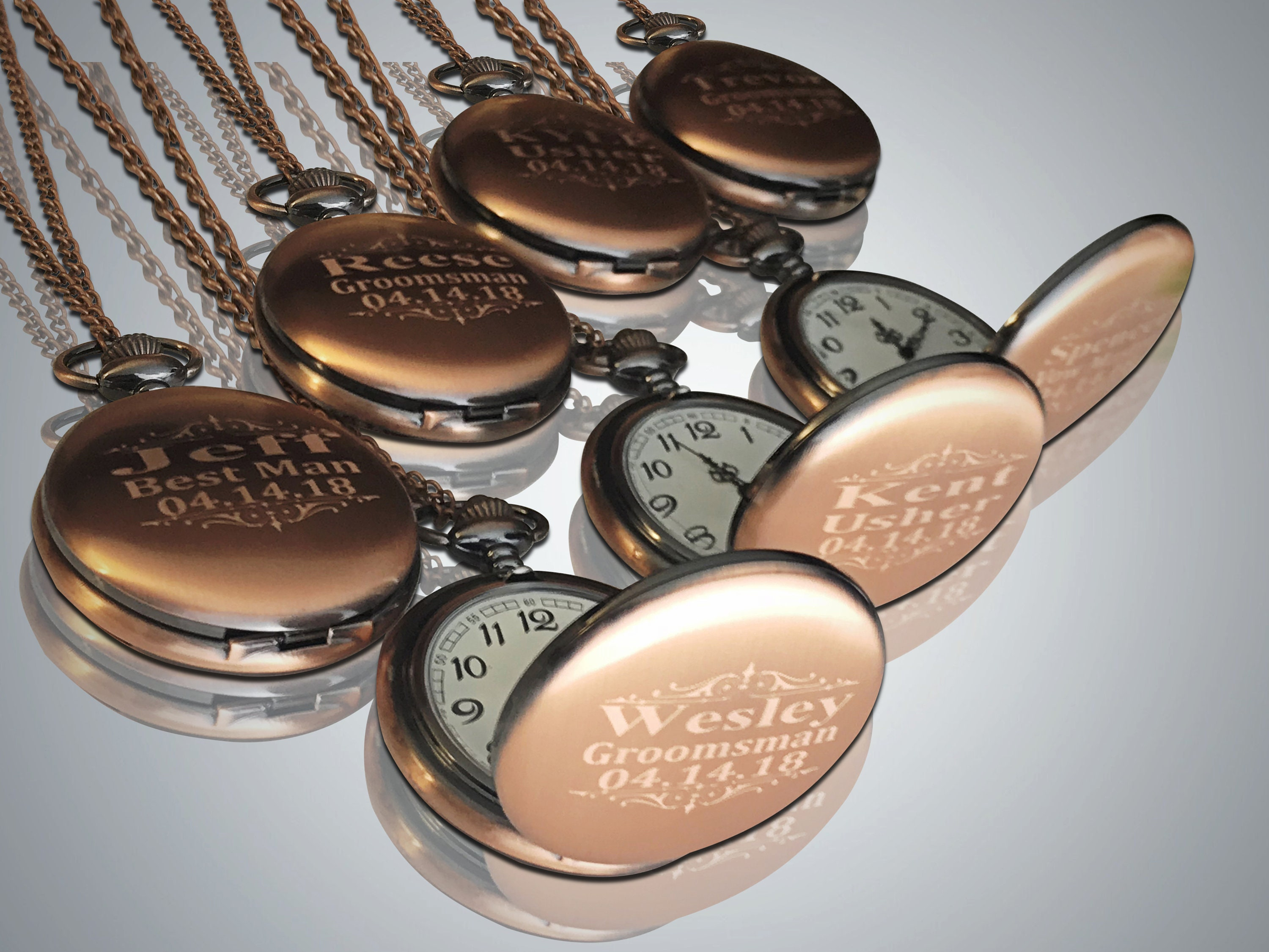 91e59e4a5 7 Rose Gold Pocket watches, Groomsmen gift, Best Man Engraved gift, Rose  Gold personalized Watch in gift box & chain, Unique Wedding gift