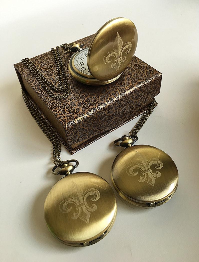 45571f933 3 Groomsmen gifts 3 Fleur de lis engraved pocket watches   Etsy