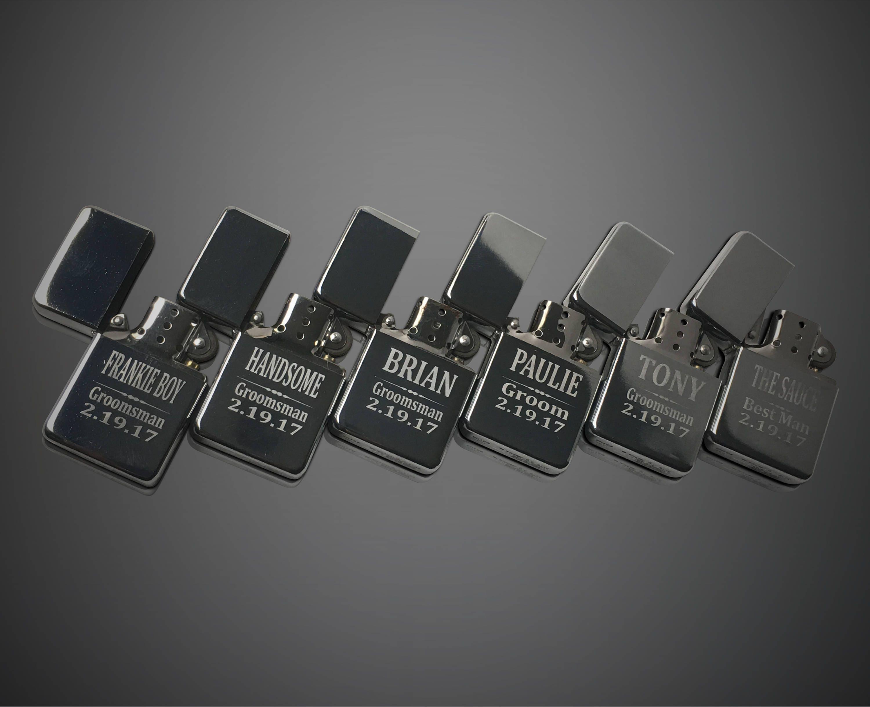 5 Personalized Engraved Lighters 5 Groomsmen Bridesmaid Wedding