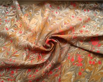 Silk Scarf,Marbled Silk Scarf,Handpainted Silk Scarf Square,Handpainted Neckerchief,Red Brown Silk Scarf,Caramel Silk Neckerchief,Mother Day
