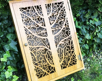 Vertical spice cabinet - beautiful tree pattern with single door