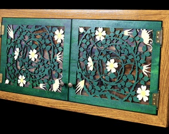 Spice rack with rose pattern doors * hand-painted * solid wood oak