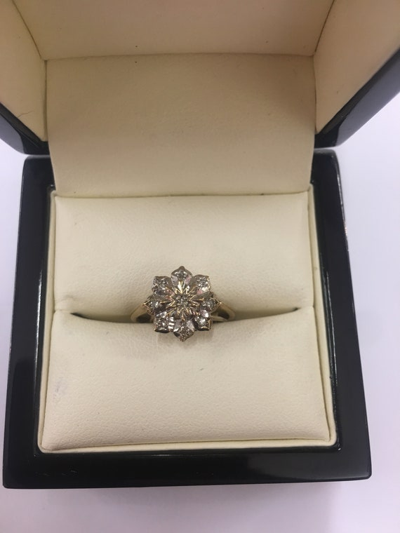 Vintage 9ct Yellow Gold Diamond Flower Cluster Ring Size J by Etsy