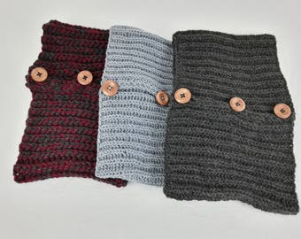 Neck warmer knitted in  100% wool with wooden buttons. Classic style,  Warm, individual, great gift. Neck Cuff. Cowl.